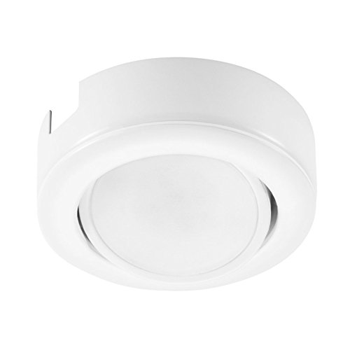 GetInLight Dimmable and Swivel, LED Puck Light Kit with ETL List, Recessed or Surface Mount Design, Warm White 2700K, White Finished, Power Cord Included, ...