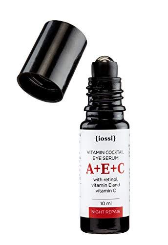 Suero para cara y contorno de ojos con Vitamin A (Retinol), C, E. Anti edad y antiarrugas, ilumina reafirma e hidrata. Perfecto para usar con rodillo facial. 97,8% Natural,18,4% Orgánico.