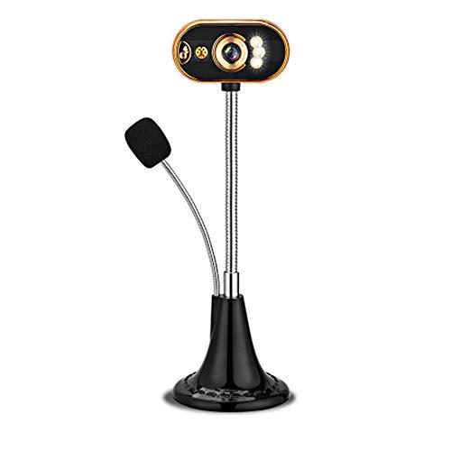 USB Web Camera Notebook Ad Alta Definizione Full HD Webcam Live Video LED Visione Notturna con Microfono Microfono Adatto per L'educazione Incontro Uffici Remoti,d'oro