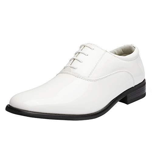 Bruno Marc Zapatos de vestir de esmoquin de cuero de charol de los hombres clásicos con cordones formales Oxford, 6/Negro, 12