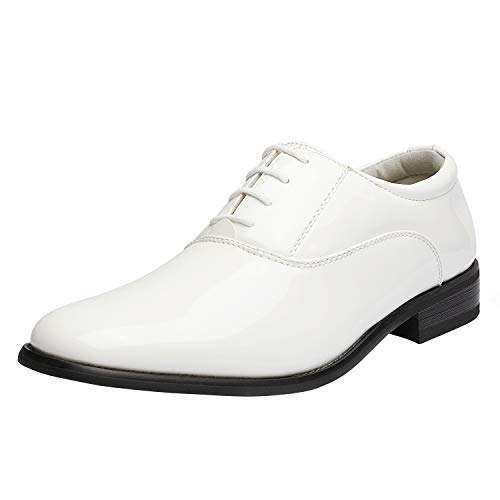 Bruno Marc Men's Faux Patent Leather Tuxedo Dress Shoes Classic Lace-up Formal Oxford White 13 M US CEREMONY-05