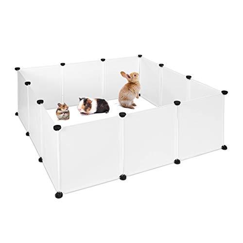 Relaxdays Parque Mascotas Ampliable para Conejos, Cobayas y Cachorros con 12 Piezas, Metal y Plástico, Blanco, 47 x 110 x 110 cm
