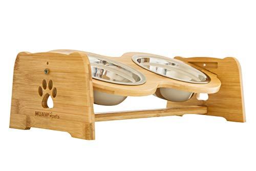 Muawo Premium Hundenapf oder Katzennapf höhenverstellbar, 350ml pro Futternapf, Perfekter Fressnapf für Hund und Katze, Näpfe mit Futterstation aus Bambus