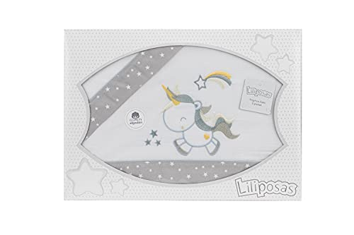 Danielstore-Sabanas Cuna 60x120 algodon - (bajera+encimera+funda almohada). (Unicornio gris)