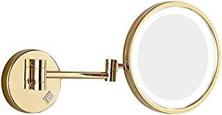 LED Makeup Vanity Mirror, 3X Magnification Beauty Mirror Single Side Wall Mounted Bathroom Mirror 360° Swivel Extendable Cosmetic Mirror,Gold_8.5inch, Bathroom