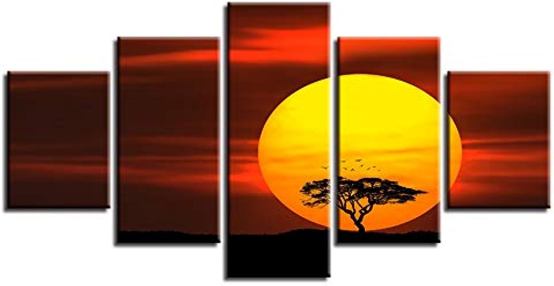 diseñador en linea YUGUO 5 Lienzos Decoración para para para La Sala De Estar Arte De La Parojo 5 Piezas árbol De Impresión HD Cielo Rojo Sol Paisaje Pintura Modular Poster Lienzo Marco De Imágenes  Mercancía de alta calidad y servicio conveniente y honesto.