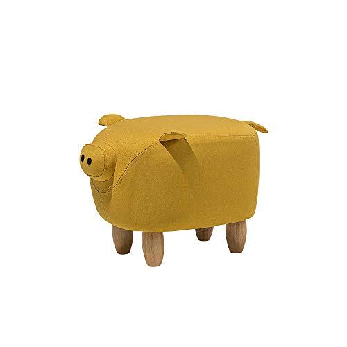 Beliani Pouf Animaletto a Forma di Maialino in Tessuto Giallo Gambe in Legno Piggy