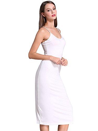 MSBASIC Femme Fond de Robe Couleur Unie Longue Bretelles Réglables Blanc S