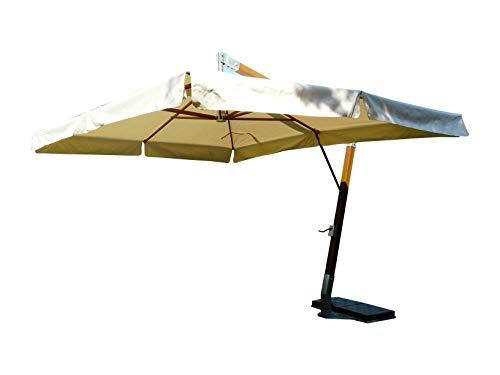 Maffei Art 158Q FIBRASOL Wood. Parasol carré deporté cm. 350x350 en Tissu Dralon. Mat en Fibre DE Verre. Fabriqué en Italie. Couleur Ecru