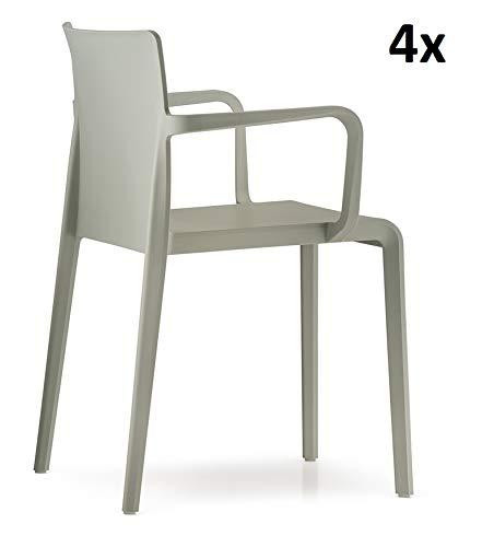 Pedrali Volt hb 674, armlehnen Stuhl, Taupe - sandbeige, 4er-Set, Stuhl mit armlehnen zum setpreis, in & outdoorstuhl