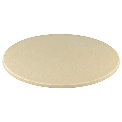 Jamestown Pizzastein inkl. Blech mit Griffen | Grillzubehör aus Naturstein mit 28 cm Durchmesser