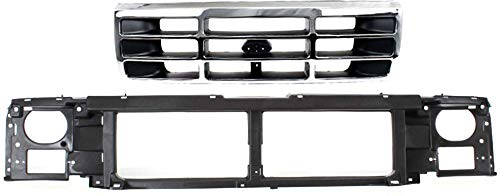 Grille Assembly Compatible with 1992-1996 Ford F-150 / F-250 / Bronco with Header Panel Set of 2