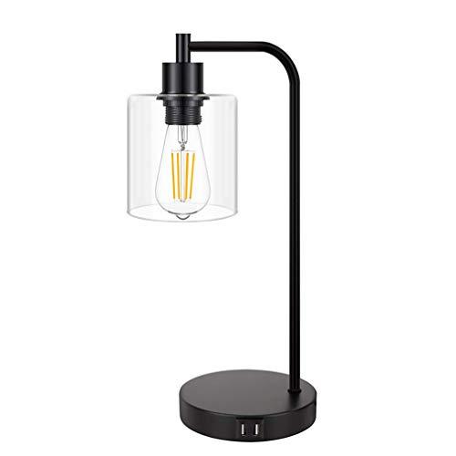 IHACON Lámpara de Mesa USB con 2 Puertos USB útiles, lámpara de Escritorio Regulable, lámpara de Noche USB Adecuada para lámpara de mesita de Noche para lámparas de Dormitorio