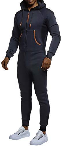 Leif Nelson Herren Overall Jumpsuit Onesie Trainingsanzug Jogginghose Trainings T-Shirt Fitness Männer Strampelanzug Bekleidung LN8270; Größe L; Dunkel Blau - 2