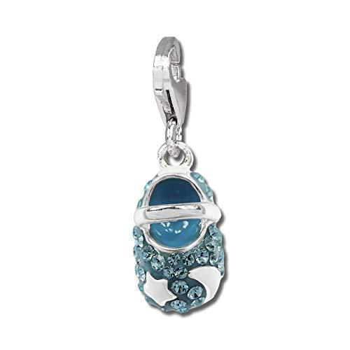 SilberDream Anhänger hellblau Babyschuh Zirkonia Damen Silber Charm D2GSC554H EIN Geschenk zu Weihnachten, Geburtstag, Valentinstag für die Frau, für Jugendliche