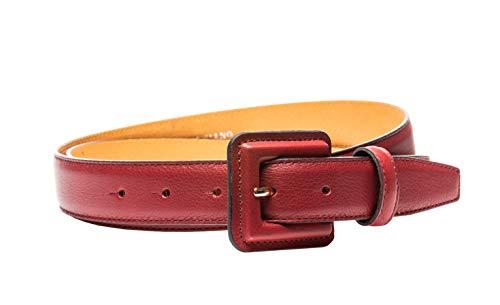 Gürtel Leder 30mm Rot - Gürtelriemen Aus Leder In 3,0 cm Breite - Ledergürtel Aus Echt Leder Mit Schnalle