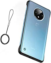 Compatible with Oneplus 7 pro Case,ASONRL Clear Frameless Matte Hard PC Slim Shock Absorption TPU Bumper with Non-Slip Surface Rope Pull Ring Case (Black)