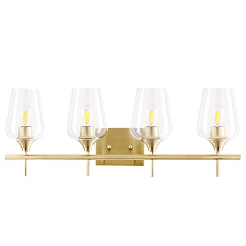 CO-Z 4-Light Gold Vanity Light Fixtures Over Mirror, Wall Mount Modern Brass Bathroom Sconce with Clear Glass, Midcentury Gold Vanity Lighting for Bathroom, Makeup Dressing Table, Bedroom