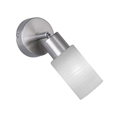 Trio Leuchten LED Strahler Jones 871410107, Metall Nickel matt, Glas weiß gewischt, 1x 4 Watt