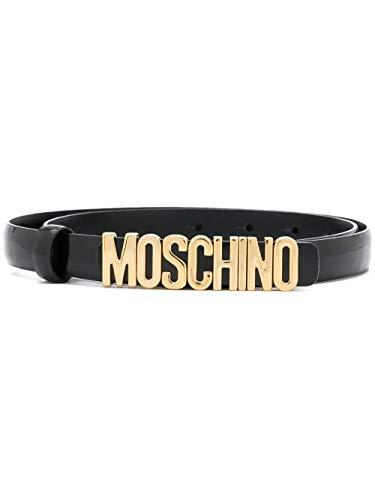Moschino Ledergürtel mit Logo-Schnalle, Schwarz