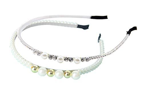 2 pcs Diadema Comunión Mujer Niñas con Perlas Maquillaje Accesorio para el Pelo Banda Fina Perlitas para el Cabello Novia Boda Fiesta