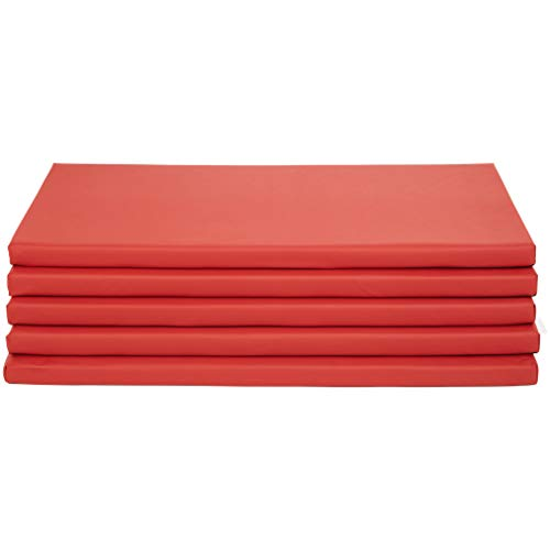 Amazon Basics Memory Foam Rest Nap Mats with Name Tag Holder - Red, 5-Pack