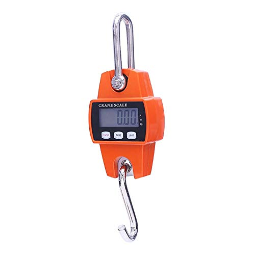 NiyuMY Elektronische Waage p ortable Edelstahlhaken LCD-Anzeige Digital-Kranwaage Gepäck Fall Hängewaage P ortable Digitale Waage Elektronische Waage Orange (Color : Orange)