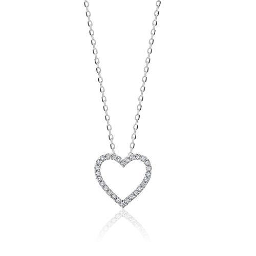 Orovi colgante de señora corazón 0.10 Ct diamantes en oro blanco de 9k ley 375 Cadena 45 cm