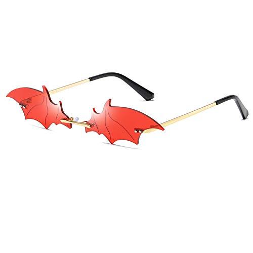 Grainas Retro Pipistrello Occhiali da sole senza bordi, per uomo e donna, montatura ultraleggera, protezione UV400, vintage, sottili e classici, a specchio, in metallo
