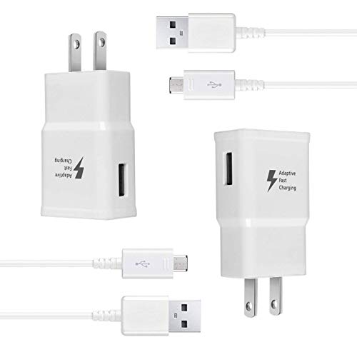 Eaxxfly Wall Charger Kit Adaptive Fast Charge Compatible Samsung Galaxy S7 / S7 Edge / S6 / S6 Plus / Note5/4 /S4/S3, USB 2.0 Fast Wall Charger Adapter and Micro USB Cable (2 Adapter + 2 Cable)