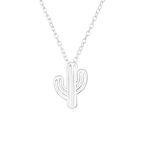 The Rose & Silver Company Women 925 Sterling Silver Cactus Necklace 45cm / 17.7' RS1214