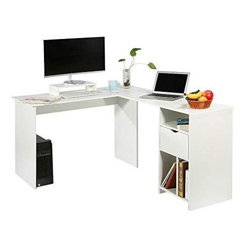 Escritorio para Computadora De Oficina En Forma De L, Escritorios para Trabajar En Casa, Mesa De Esquina Grande para PC con Soporte para Monitor (Blanco)