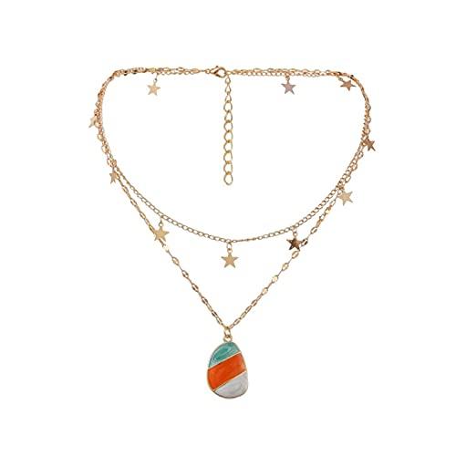 Joyería de doble capa tricolor estrella ovalada drapeado encantos cadena gargantilla collares y colgantes para mujeres