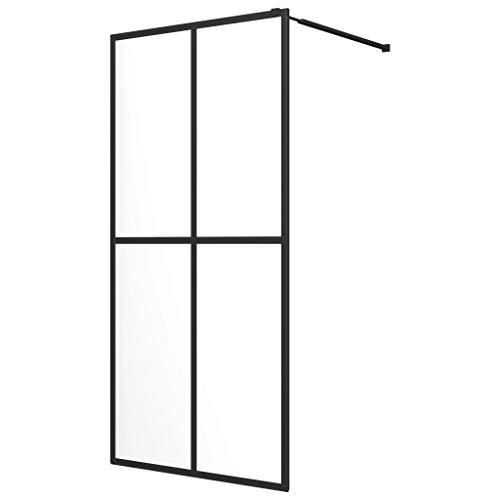 vidaXL Mampara para el Plato de Ducha Accesible Cabina de Cuarto de Baño de Vidrio Templado Negra 80x195 cm