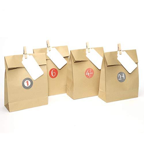 Plantvibes 24 Bolsas de adviento de papel kraft de alta calidad con tarjetas y pinzas de madera, Bolsas de papel ideales para los calendarios de Adviento, Bolsa de regalo, Embalaje de regalo