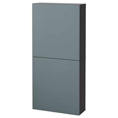 Zigzag Trading Ltd IKEA BESTA - Armario de Pared con 2 Puertas Negro-marrón/Gris-Turquesa valviken