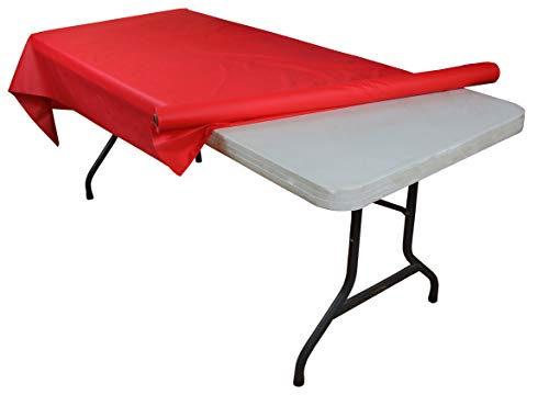 Exquisite Premium Quality Plastic Table Cover Banquet Rolls 40' X 300' (Red)