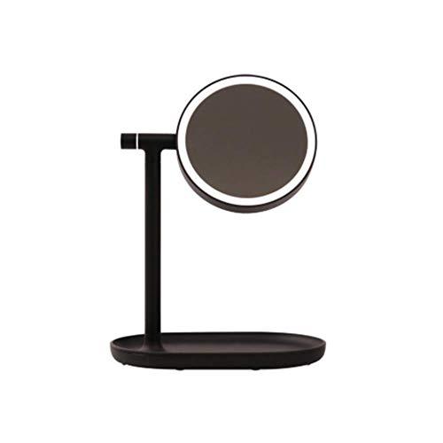 Preisvergleich Produktbild ZJDK 3-Fach vergrößerter LED-beleuchteter Schminkspiegel,  doppelseitig beleuchtete beleuchtete Schminkspiegel LED-Schreibtischlampe USB-Ladefunktion Kann Kosmetika halten
