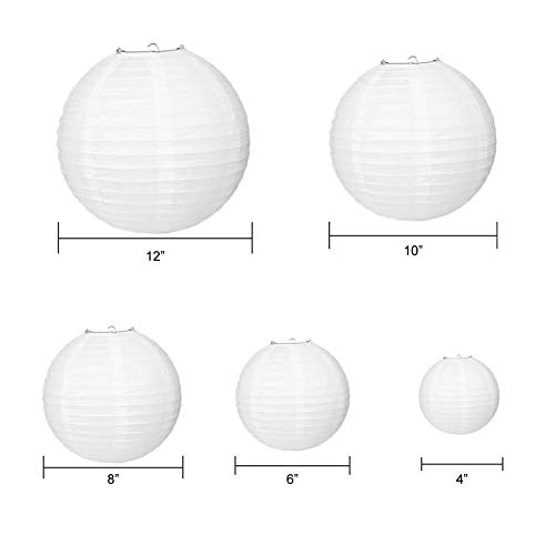 Paxcoo 24 Pack White Paper Lanterns with Assorted Sizes