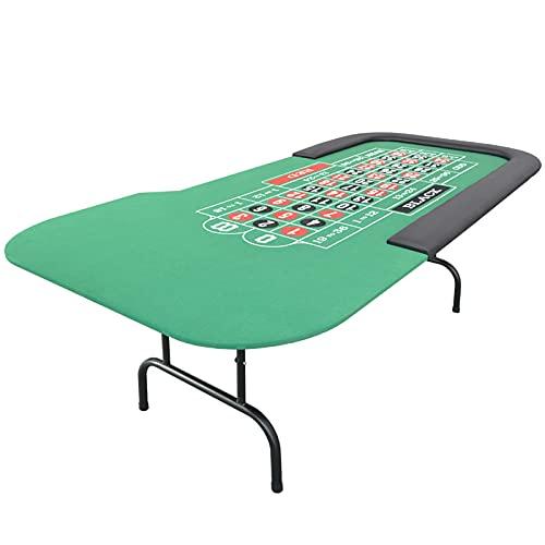 JLFFYJ Mesa de Casino Plegable, Mesa de Póquer Texas Hold 'Em, Mesa de Póquer de Blackjack Plegada con Rieles Acolchados, Fácil de Limpiar y Almacenar, 215x106 / 97x75cm, Verde