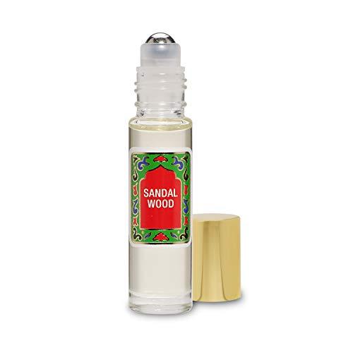 Sandalwood Perfume Oil Roll-On - Sandal Wood Fragrance Oil Roller (No Alcohol) Perfumes for Women and Men by Nemat Fragrances, 10 ml / 0.33 fl Oz