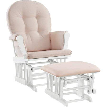 Windsor Glider and Ottoman - White Finish and Pink Cushions