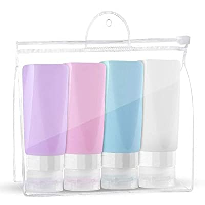 Travel Bottles Leak Proof ,3 oz TSA Approved Silicone Squeezable Travel Shampoo Bottles , Refillable Travel Containers Set for Toiletries Shampoo Conditioner Lotion