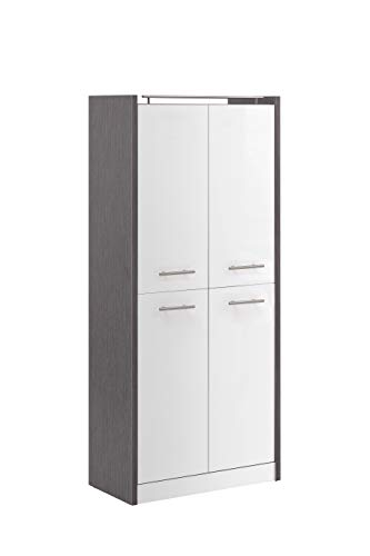 Schildmeyer Trient Hochschrank 701610, Holzwerkstoff, eschegrau/weiß Glanz, 70,7 x 35 x 157,5 cm