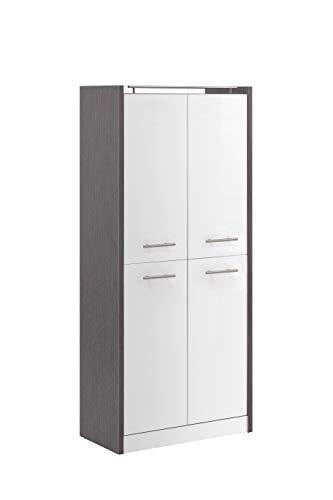Schildmeyer Trient Hochschrank 701610, eschegrau/weiß Glanz, 70,7 x 35 x 157,5 cm