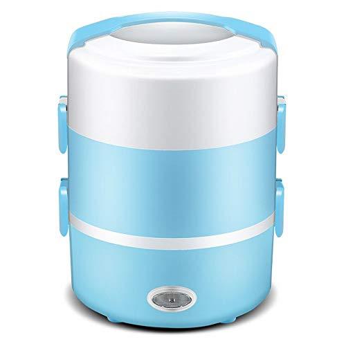 CN Elektrische Lunchbox Doppelheizung Reiskocher gedämpfter Reis Kochen Reis Isoliert tragbar,Blau,1