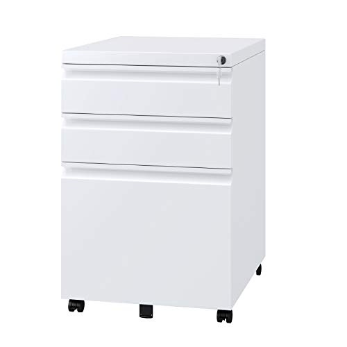 Homfa 3 Drawer Mobile File Cabinet with Lock, Rolling Pedestal Cabinet with Movable Pencil Tray and Adjustable Hanging Bar, Metal Office Storage Cabinet, Fully Assembled Except Wheels-White