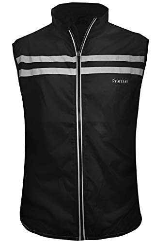 Priessei Men's Running Cycling Vest Reflective and Windproof Safety Bike Vest (Black, Small)