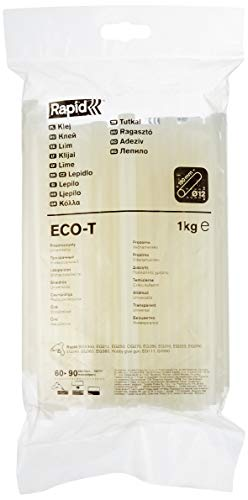 RAPID – Bâtons de colle ECO-T – Diamètre : 12 mm – Colle transparente en EVA et résine – Usage universel – Sachet de 1 kg – Compatible avec pistolets EG212, EG250, CG270, BGX300, EG310 et EG330