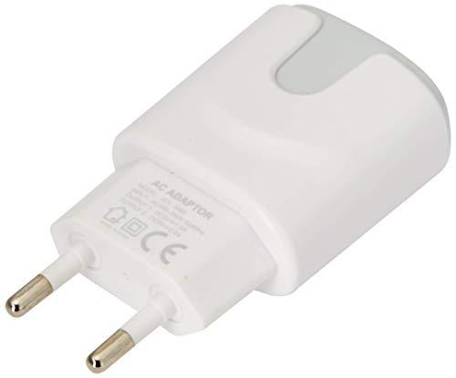Netadapter, kleur, USB, voor Motorola Moto G7 Plus, smartphone, tablet, dubbele stekkerdoos, 2 poorten, AC-lader (grijs)